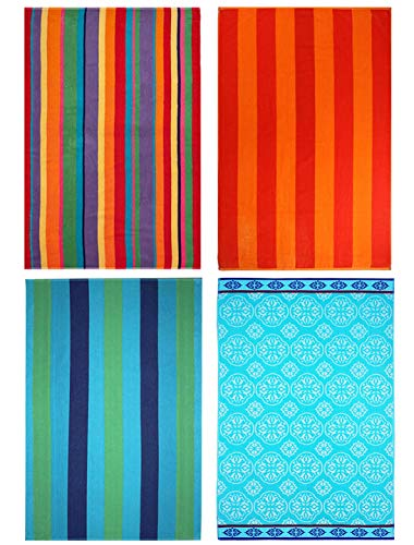 COTTON CRAFT - 4-Pack Assorted Velour Beach Towels - Large 32x63 Inches - 100% Cotton - Trellis  Cabana Stripe, Summer of Siam  Cabana Orange Stripe Set - 450 GSM - Each Towel Weighs 1.29 Lbs.