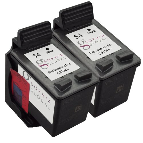 Sophia Global Remanufactured Ink Cartridge Replacement for HP 54 (2 Black)