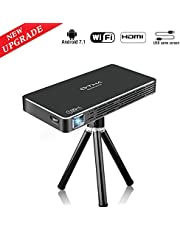 OTHA C800S Mini Projecteur, Pico Projecteur Android 7.1 Portable Videoprojecteur, DLP LED Projecteur 100ANSI Lumens, 1080P Full HD WiFi Bluetooth Entree HDMI pour Gaming/Laptop/PS4 (Noir)
