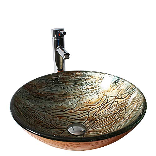 Handle Wash Basin Tempered Glass Hand-Painted Bowl Tap Lavatory Bathroom Sink Bath Brass Faucets Mixer Tap Set
