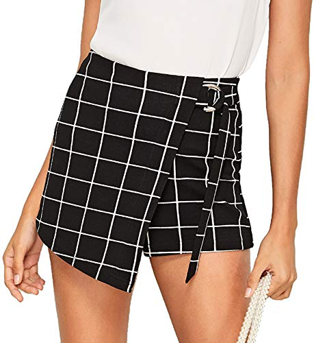 (WDIRARA Women's Plaid Belted Wrap Knot Side Mid Waist Asymmetrical Skirt Shorts Black-3 S)