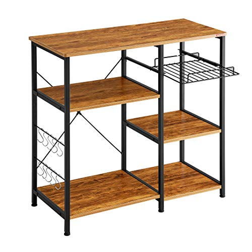 Mr IRONSTONE Kitchen Baker's Rack Vintage Utility Storage Shelf Microwave Stand 3-Tier+3-Tier Table for Spice Rack Organizer Workstation (Microwave Stand With Storage)