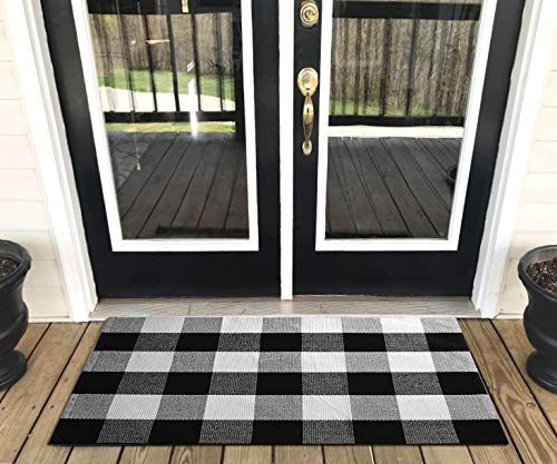 Levinis Buffalo Check Rug - 100% Cotton Washable Porch Rugs Door Mat Hand-woven Checkered Plaid Rug for Doorway/Kitchen/Bathroom/Entry Way/Laundry Room/Bedroom 2' x 3', Black and White