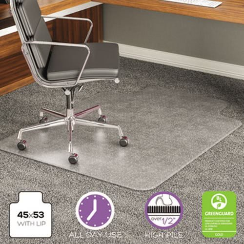 deflecto CM17233 ExecuMat Intense All Day Use Chair Mat for High Pile Carpet, 45x53 w/Lip, Clear ()