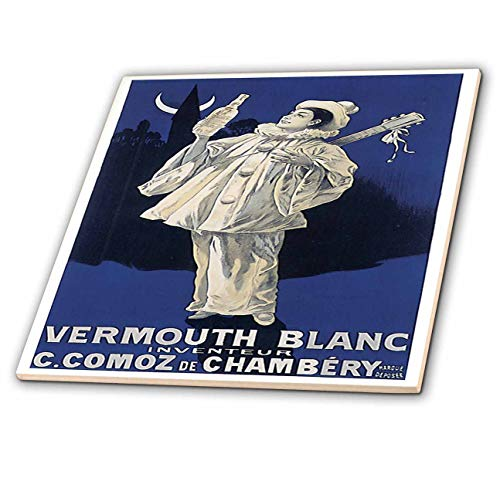 (3dRose BLN Vitage Wine, Beer and Spirits Advertising Posters - Vintage Vermouth Blanc Advertising Poster - 4 Inch Ceramic Tile)