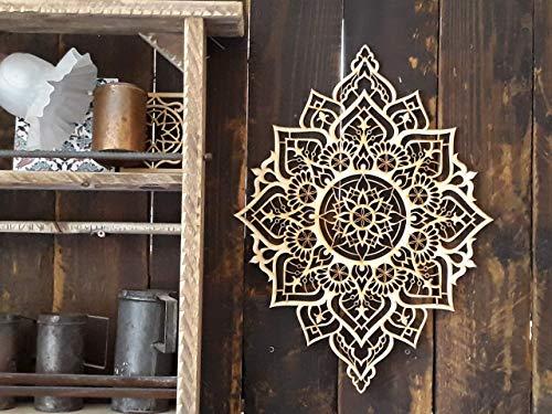 Mandala Wood Home Decor, Boho Ethnic Housewarming Wall Hanging, Morrocan Indian Wall Art, Sacred Geometry Yoga Studio, Unique Handmade Spiritual Gift by Tohar Wood Design (Image #8)