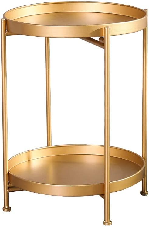 Best Verkopende Hedendaagse Salontafel Round Bank Side Opslagtabel Dubbellaag Verwijderbare Bak Decoratie Rack 4.14 (Color : Black) Gold B5ifaPl