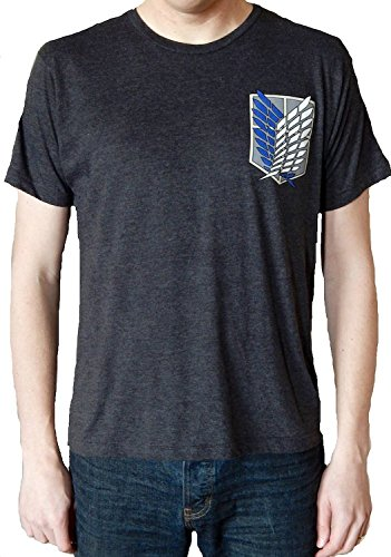 Ripple Junction Attack on Titan Survey Corps Adult T-Shirt (Small, Black)