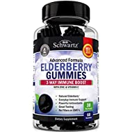 Natural Sambucus Elderberry Gummies - 3-Way Immune Support with 100% Vitamin C & Zinc - Powerful Daily Vegan Herbal Gummy Supplement with Antioxidant Formula - 60 Gummies