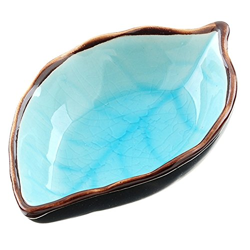 - HaloVa Condiment Dish, Leaf-Shaped Porcelain Sauce Dish, Beautiful Multipurpose Compact Dipping Bowl with Non-Slip Bottom for Home Kitchen Tabletop Spices Soy Sushi Vinegar Nuts Plate, Light Blue