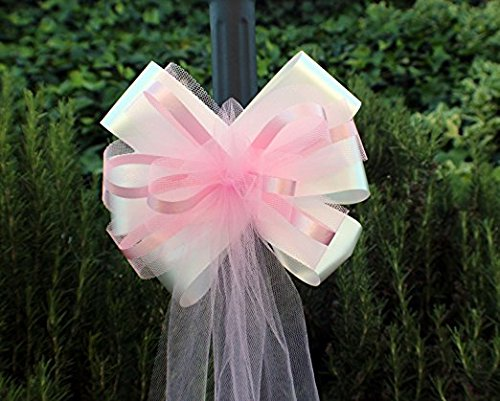 Large Assembled White & Pink Wedding Pew Bows - 10