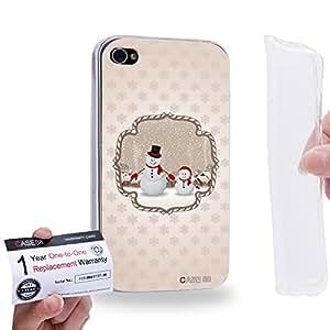 Case88 [Apple iPhone 4 / 4s] Gel TPU Carcasa/Funda & Tarjeta de garantía - Art Christmas Classics Christmas Snowman 1414