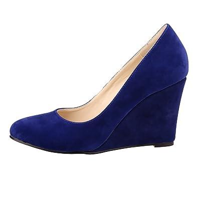 Xianshu Women Point Toe Shallow Mouth Shoes Wedge Heel Single Shoes Solid Color Pumps(Rose-36 EU) LgI4Y7
