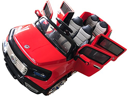 Four Seater - Two-Seater 4-Door Premium Ride On Electric Toy Car For Kids - 12V10A Battery Powered - LED Lights - MP3 - RC Parental Remote Controller - Leather Seat - Suitable For Boys & Girls - Red