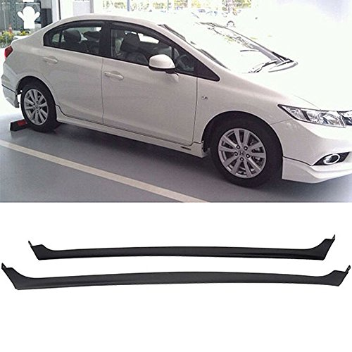 - Side Skirts Fits 2012-2013 Honda Civic | MD Style Black PP Sideskirt Rocker Moulding Air Dam Chin Diffuser Bumper Lip Splitter by IKON MOTORSPORTS