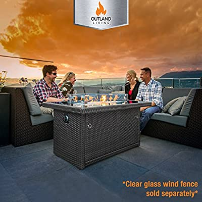 Outland Fire Pit Table – Propane Gas with Auto Ignition – Tempered Glass Table Top – Arctic Ice Glass Rocks - Weather Resistant Wicker Panels – Outdoor Firepit Table Perfect for Patio, Deck, Backyard by Outland Living