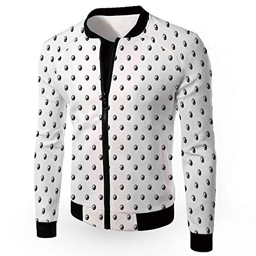 iPrint Tighten Jackets,Ying Yang,Military Patch Light Weight Bomber Jacket,Polka Dots Y