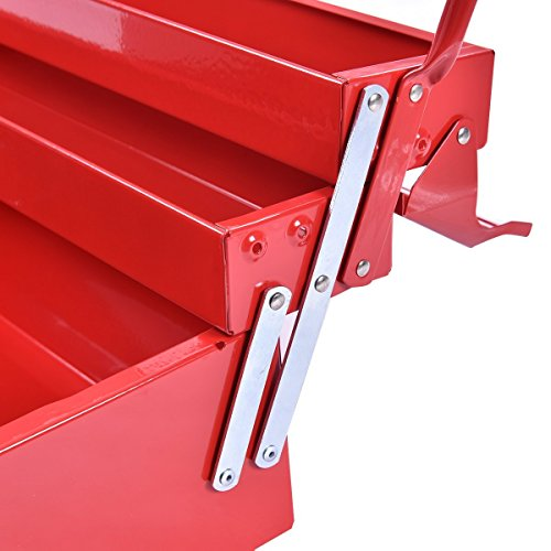 Goplus 20-Inch Portable 5-Tray Cantilever Metal Tool Box Steel Tool Chest Cabinet, Red by Goplus (Image #3)