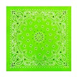 Neon Green Paisley Bandana (Glows Under Black Light) #25