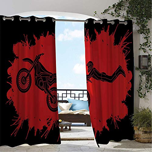 (Linhomedecor Balcony Waterproof Curtains Extreme Sports Freestyle Motocross Illustration Color Splashes Background Vermilion and Black Porch Grommet Panel Curtains 108 by 72 inch)