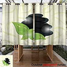 RenteriaDecor Outdoor Ultraviolet Protective Curtains Meditative Bamboo Background with Cairn Stones and eco Green lea W63 x L72