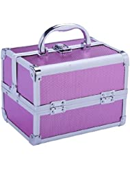 Soozier Makeup and Jewelry Train Case with Mirror - Pink
