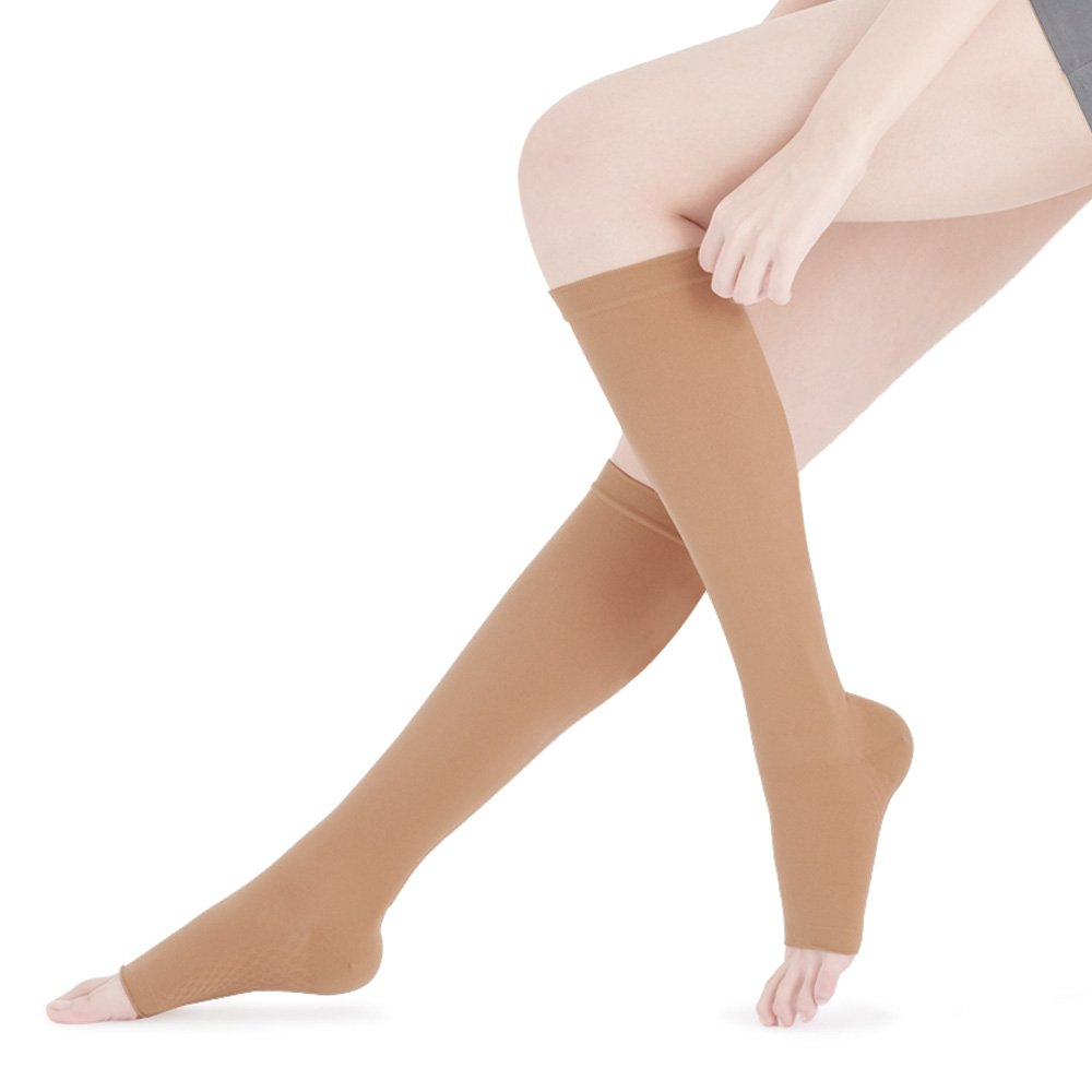 Fytto 2020 Women's Compression Socks, 15-20mmHg Open Toe Support Hosiery - Microfiber Stocking for Travel, Varicose Veins & Pregnancy, Slip-Resistant, Tan, Small