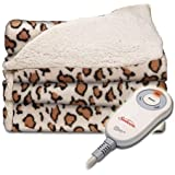Sunbeam Electric Throw - Reversible Imperial Plush with Sherpa - Premium Sherpa and Ultra Soft with 3 Heat Settings and 3 Hour Auto-off LEOPARD PRINT 50 x 60