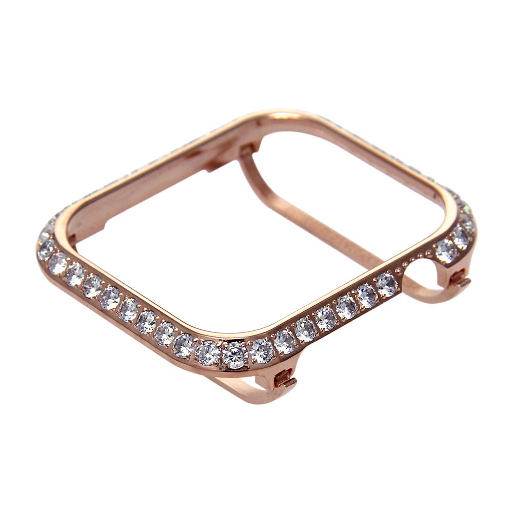 Callancity Compatible Bling Apple Watch Bumper Metal Rhinestone Crystal 3.0 Big Diamond Jewelry Bezel Case face Cover Compatible Apple Watch Series 4 44mm (Rose Gold White Crystals) by Callancity