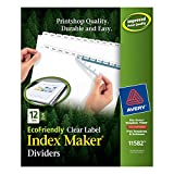 Avery EcoFriendly Index Maker Clear Label Dividers, White, 12-Tab Style, 5 Sets (11582)