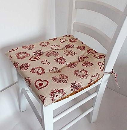 Confezioni Giuliana N. 4 Cuscini Copri Sedia coprisedia per Cucina Cuori  Rosso Tirolese tirolo 40x40