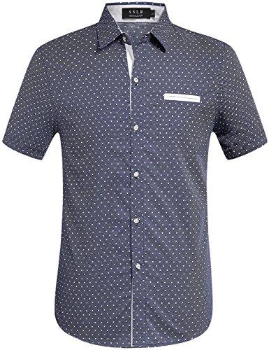 mens 100 cotton short sleeve dress shirt - 9