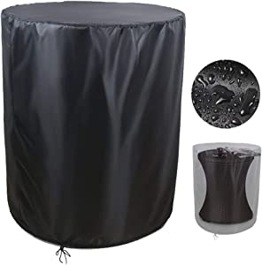"""Saking Patio Cool Bar Side Table Cover, Designed for Keter 7.5 Gallon Cooler & Outdoor Coffee Beverage Bins (Round, 21"""" Dia x 23"""" H)"""