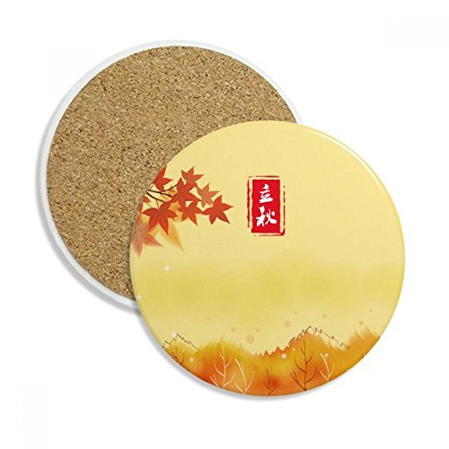 Autumn Begins Twenty Four Solar Term Ceramic Coaster Cup Mug Holder Absorbent Stone for Drinks 2pcs Gift by DIYthinker