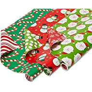 American Greetings Reversible Christmas Bulk Gift Wrapping Paper Bundle, 3 Rolls; Santa, Snowmen and Candy Canes, 120 Total sq.ft.