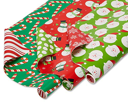 American Greetings Reversible Christmas Wrapping Paper Bundle 3 Rolls Deal (Large Image)