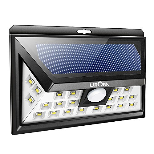 LITOM Solar Lights Outdoor, 2nd Generation 24 LED Wireless Solar Motion Sensor Lights with 270° Wide Angle, IP65 Waterproof, Easy-to-install Security Lights for Front Door, Yard, Garage, Deck, Porch