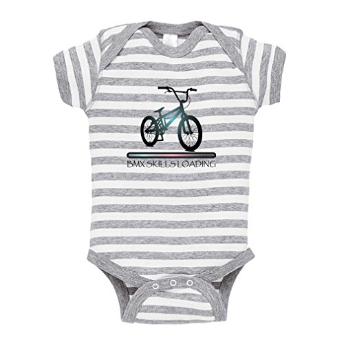 BMX Skills Loading Sport Baby Combed Ring-Spun Cotton Stripe Fine Bodysuit One Piece - White Gray, 6 - Pro Skills Bmx