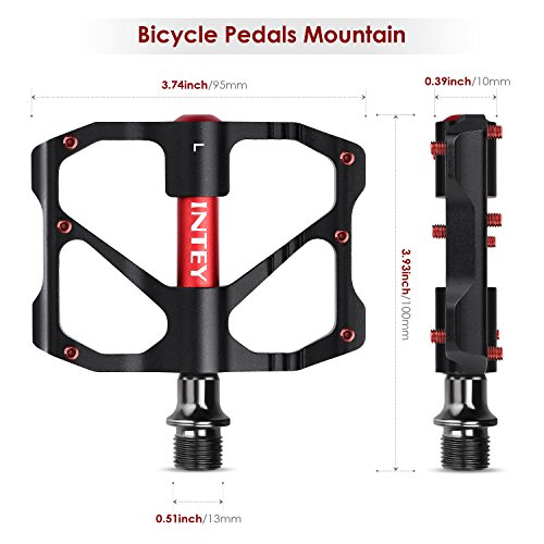 "INTEY Mountain Bike Pedals 9/16"" Screw Thread Spindle Aluminum CNC Sealed Bearing Road Bike Pedals"