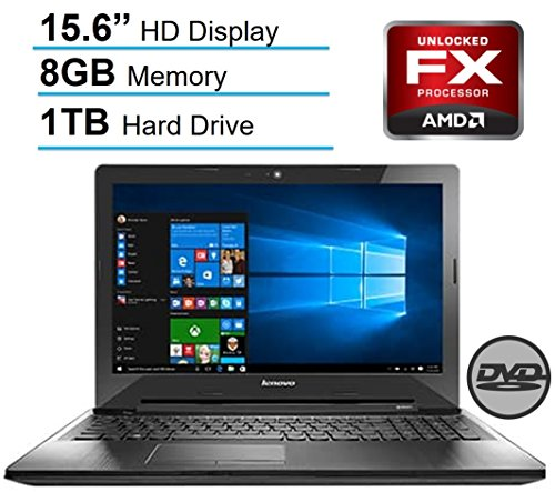 Lenovo 15.6'' HD LED Signature Laptop PC, AMD Quad-Core FX-7500 2.10 GHz CPU, 8 GB RAM, 1 TB HDD, DVD +/- RW, Bluetooth, HDMI, Radeon R7 Graphics, Dolby Audio, Windows 10-Black