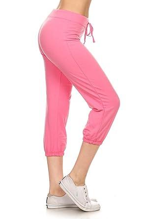 9f39db9fc1 Leggings Depot Women's Cotton French Terry Drawstring Jersey Athletic Capri  Jogger Activewear Lounge Pants