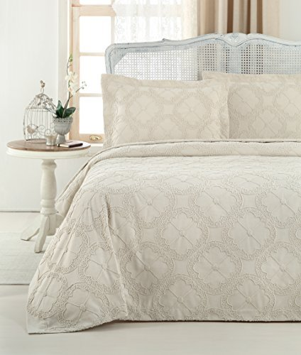 Gelin Home - 3 Piece 100% Chenille Luxurious Soft Quilted Embroidery Bedspread - Rock - King Size - 102