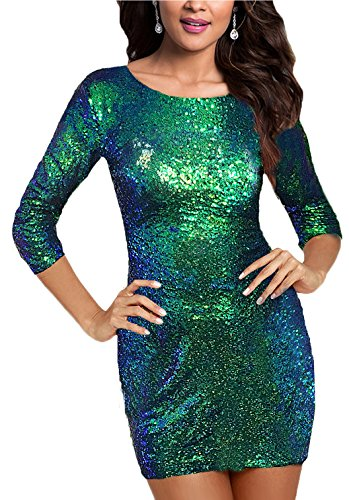 SUJAN Women's Sheath Bodycon Sequins Dresses Prom Bridesmaid Mini Gown Forest Green -