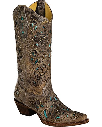 CORRAL Women's Studded Turquoise Leather Inlay Cowgirl Boot Snip Toe Brown 8 M (Leather Inlay Cowgirl Boots)