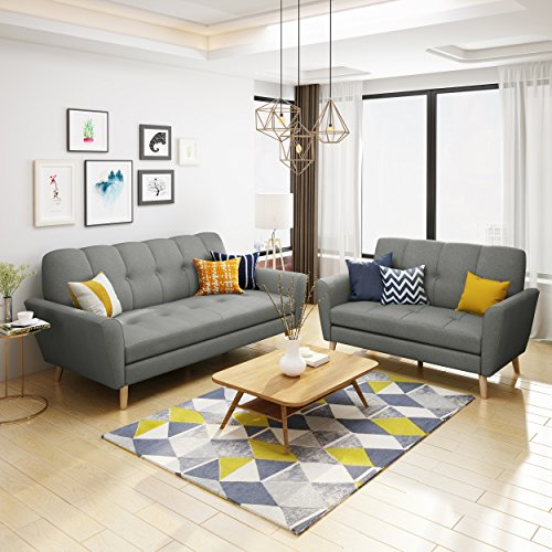 Angelina Mid Century Grey Fabric Sofa and Loveseat Set