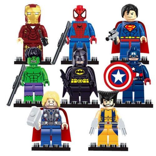 Custom Marvel Super Heroes Avengers Marvel DC Super Heroes Series 8 Pcs/Set Action Mini figures Building Block Toys Kids New Year Gift Superman (Super Heroes Avengers)