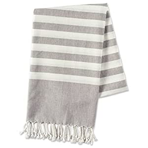 E-Living Store FBA43918 100% Cotton, Soft and Absorbent Decorative Turkish Fouta Towel with Twisted Fringe for Home, Beach, Pool, Or Décor, Use As Blanket Or Throw, 28x59, Grey Stripe