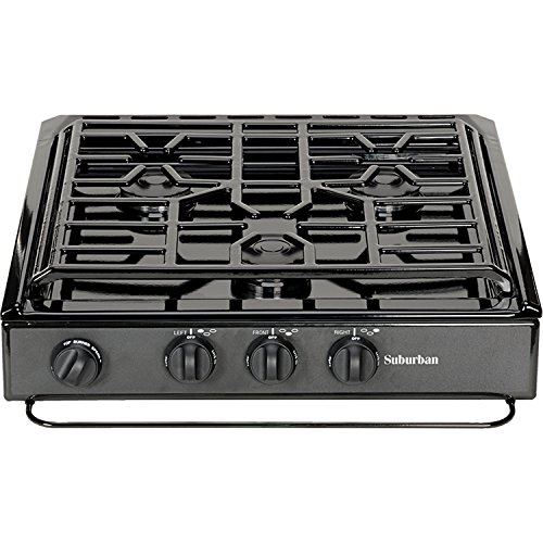 Suburban 3 Burner - SUBURBAN MFG Suburban 3200A 3 Slide-in Cooktop w/Conventional Burner-Black w/Piezo Ignition