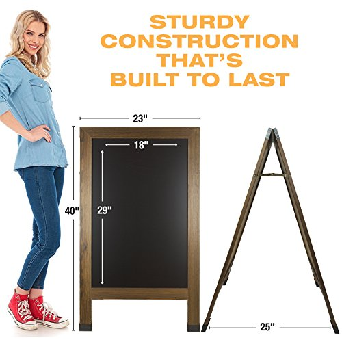 Sandwich Board Sidewalk Chalkboard Sign: REINFORCED, HEAVY-DUTY / 10 CHALK MARKERS / 40 PIECE STENCIL SET / CHALK / ERASER / DOUBLE SIDED / LARGE 40x23 Chalk Board Standing Sign A-Frame (Rustic) by Excello Global Products (Image #5)