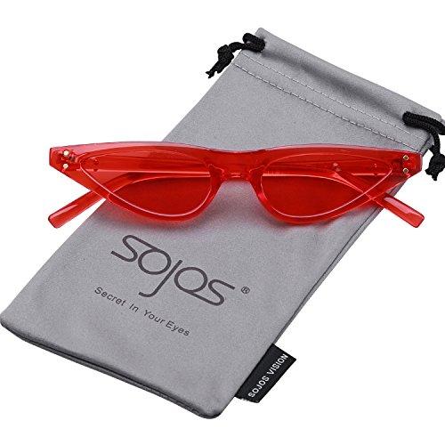 Gato SOJOS Sunglasses Lente SJ2046 Rojo C3 Marco Eye De Rojo De Gafas Sol Ojo Moda Cat para Mujer qRgwAq